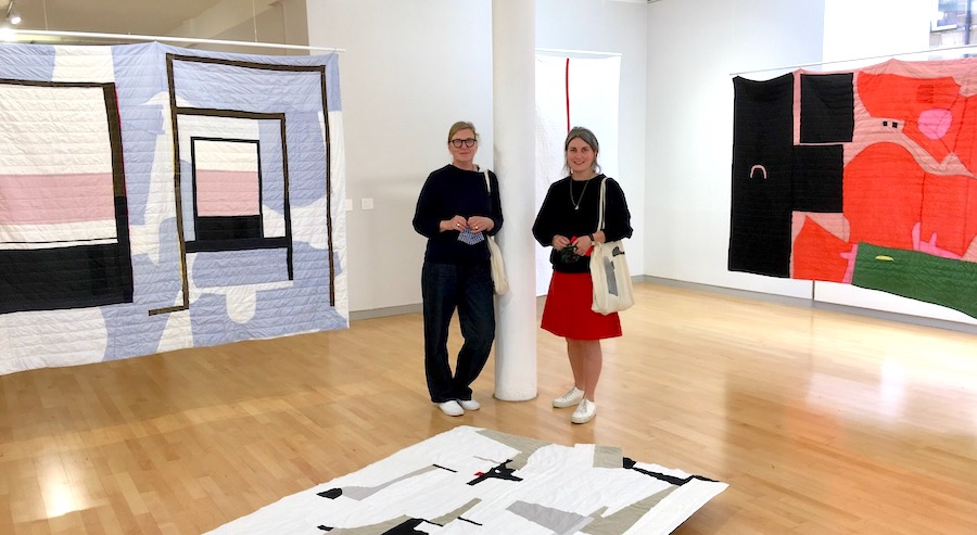 Friends Sheelagh Boyce and Annabelle Harty create abstract compositions with recycled fabrics