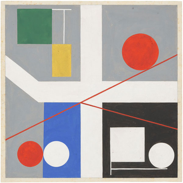 Sophie Taeuber-Arp, Quatre espacs á cercles rouges roulants (Four spaces with red rolling circles), 1932. Gouache on paper, 27.6 x 27.6 cm. © Stiftung Arp e.V., Berlin / Rolandswerth, courtesy the estate and Hauser & Wirth.