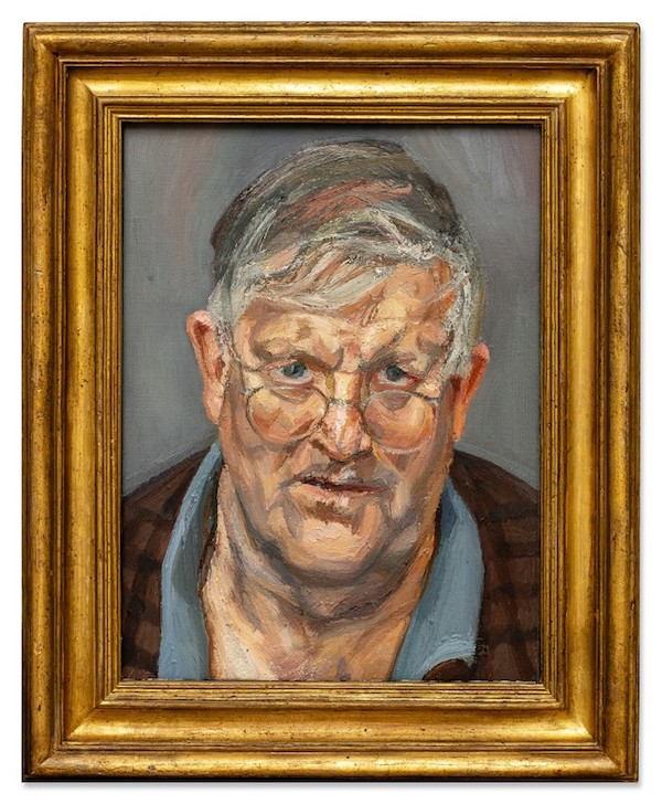 A portrait by the English figurative painterLucian Freuddepicting his friend David Hockney