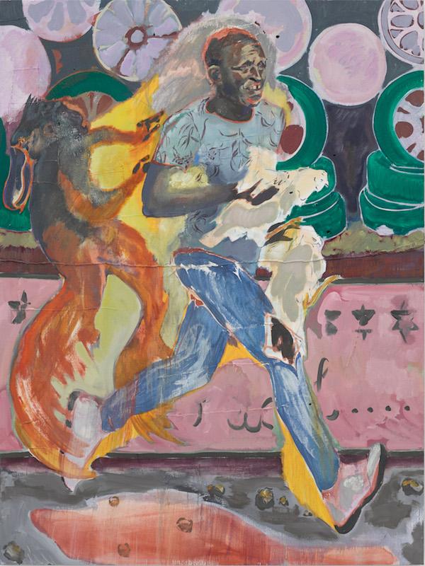 Key 12 - Michael Armitage, The Chicken Thief, 2019. Oil on Lubugo bark cloth, 200 x 150 cm. Courtesy of the Artist and White Cube © Michael Armitage. Photo: © White Cube (Theo Christelis).