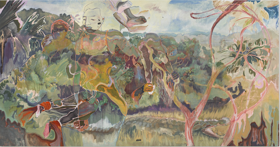 Key 4 - Michael Armitage, The Paradise Edict, 2019. Oil on Lubugo bark cloth, 220 x 420 cm. The Joyner/Giuffrida Collection © Michael Armitage. Photo: © White Cube (Theo Christelis).