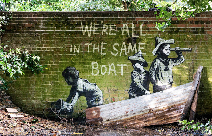 Banksy Spraycation Where is it? On a sea wall in Cromer, Norfolk