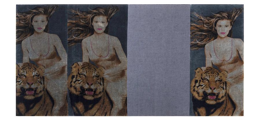 Amazons (Painting VIII), 2020 – beach towel, fabric dye, linen