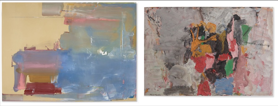 From left to right: HELEN FRANKENTHALER (1928-2011), Warming the Wires, 1976 $2,670,000; PHILIP GUSTON (1913-1980), The Clock II, 1957 $2,670,000