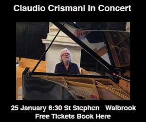 Claudio Crismani in concert - 25 January 2018, 6:30pm / St Stephen Walbrook